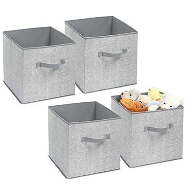 mDesign Soft Fabric Closet Storage Organizer Bin Box - Front Handle, for Cube Furniture Shelving Units Bedroom, Nursery, Toy Room - Textured Print - Medium, 4 Pack - Gray