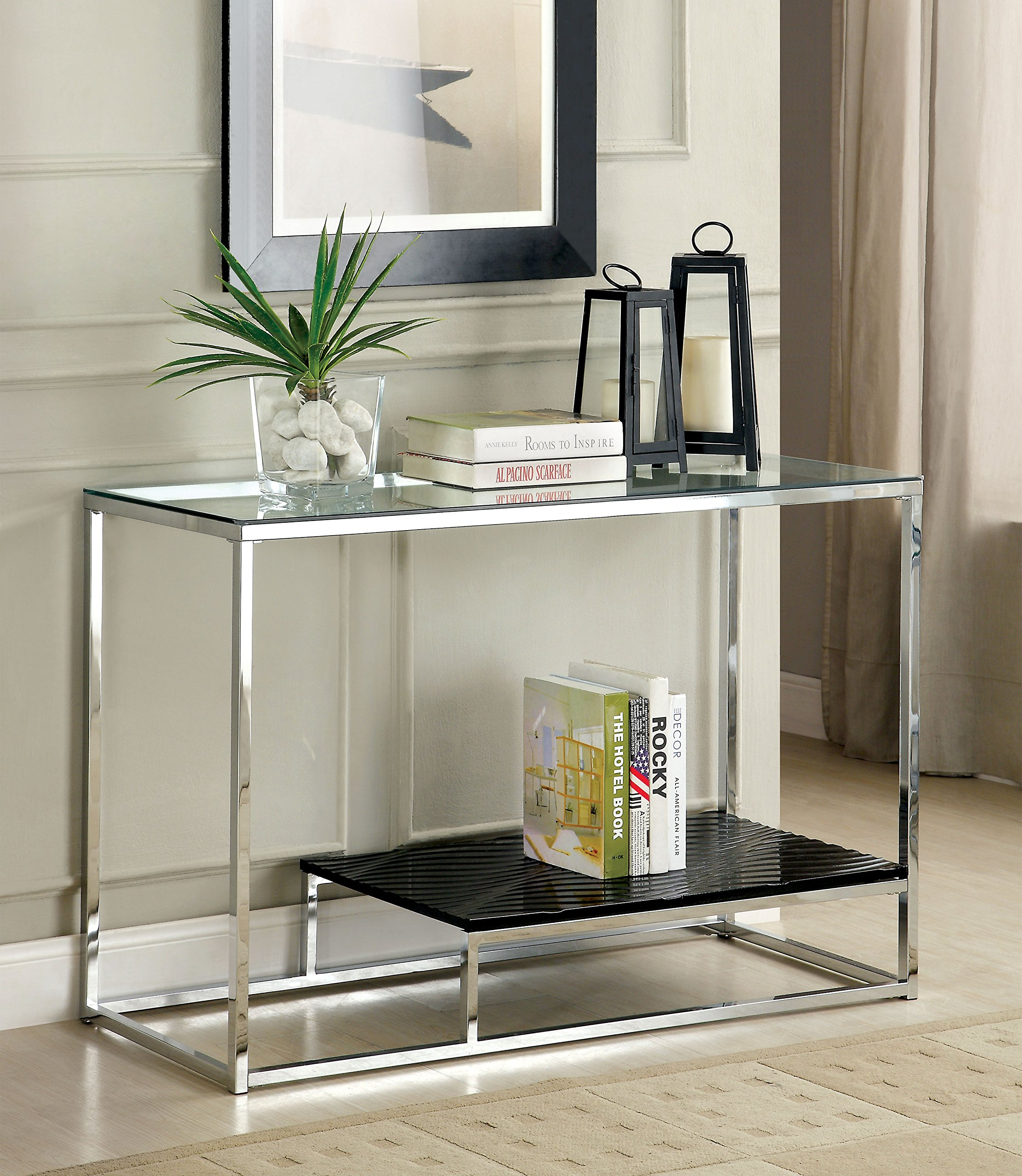 Furniture of America Gacelle Contemporary Glass Top Sofa Table, Black by Furniture of America
