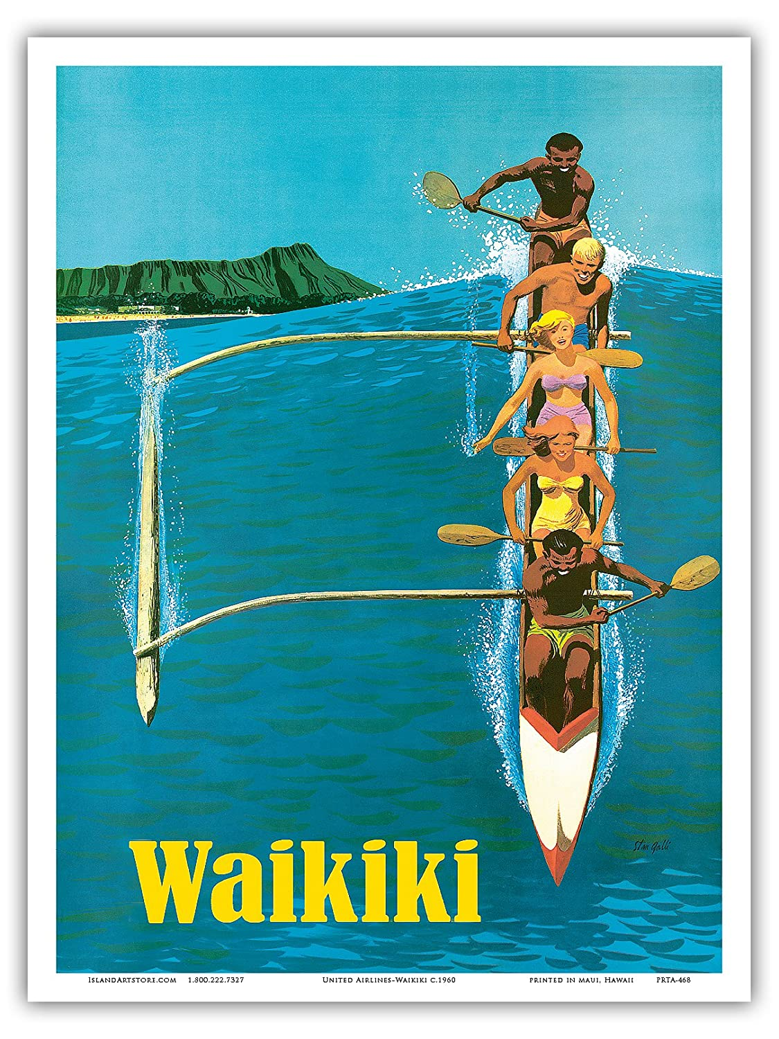 Pacifica Island Art United Air Lines-Waikiki-Canoa de Surf ...
