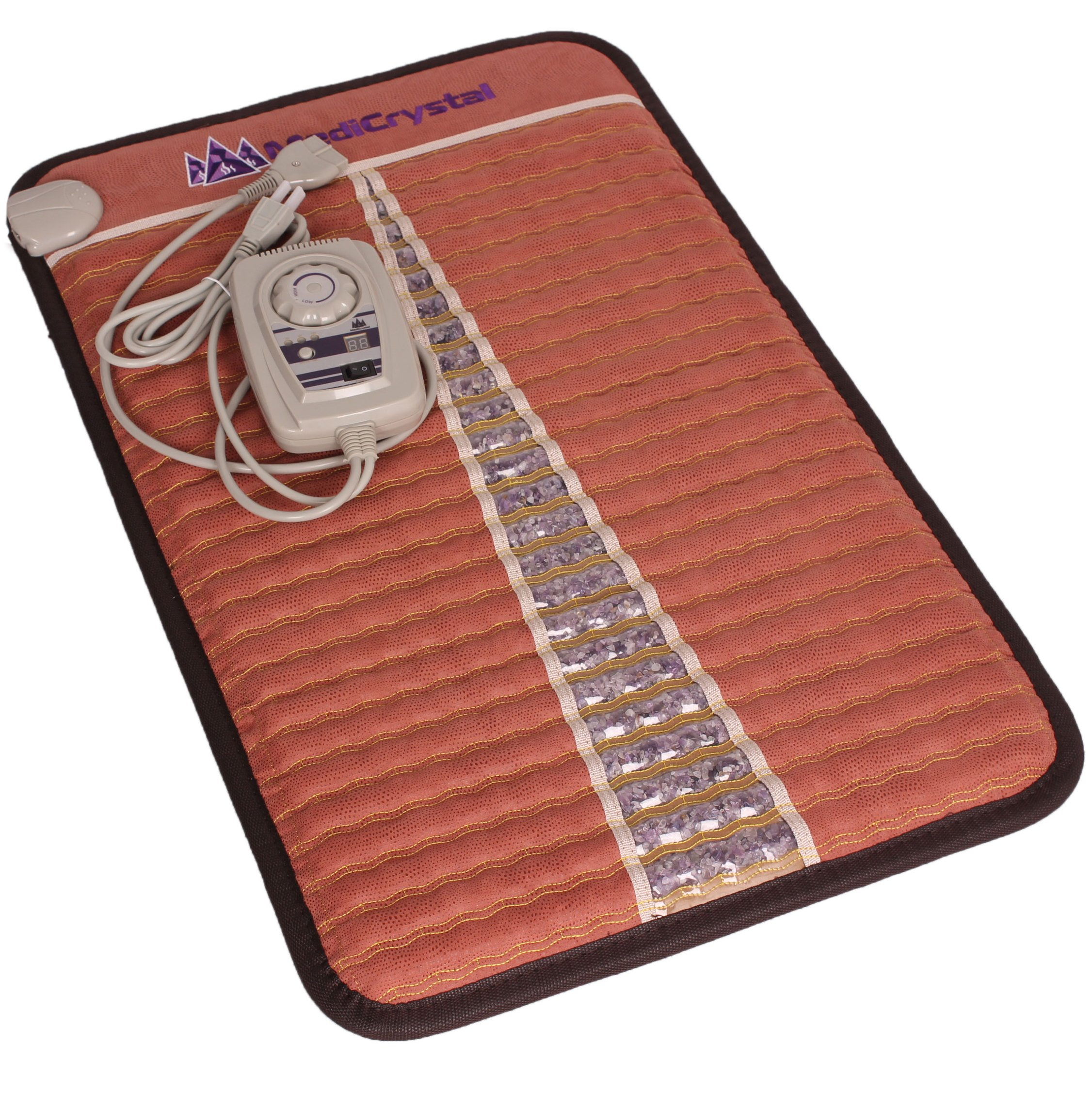Far Infrared Amethyst Mat Mini (32''L x 20''W) - Negative Ion - FIR Heat - Jewelry Natural Amethyst - FDA Registered Manufacturer - Adjustable Temperature Setting - Hot Stone Heating Pad - Reddish Brown by MediCrystal