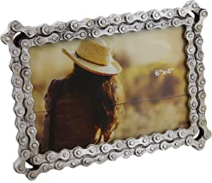 """Old River Outdoors Bicycle/Motorcycle Chain Picture Frame 4"""" X 6"""" Photo - Faux Bike Chain"""