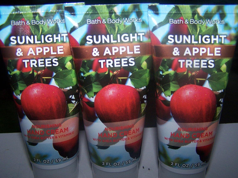 Lot of 3 Bath & Body Works Sunlight & Apple Trees Nourishing Hand Cream 2 Fl Oz Each (Sunlight & Apple Trees)