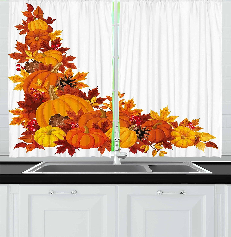 Amazon Com Lunarable Pumpkin Kitchen Curtains Autumn Leaves And Fruits On Fall Season Arrangement Pine Cone Cranberries Window Drapes 2 Panel Set For Kitchen Cafe Decor 55 X 39 Orange Yellow Home