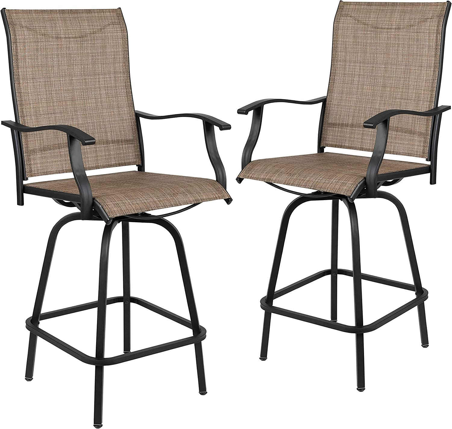 "Flash Furniture 30"" All-Weather Patio Swivel Outdoor Stools, Brown, Set of 2"