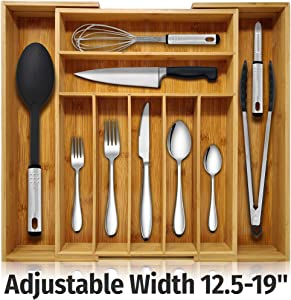 Nature Gear Kitchen Drawer Organizer - 9 Section Expandable Bamboo Storage for Flatware - Housewares - Bath & Vanity - Tool Utility Caddy Adjustable Tray