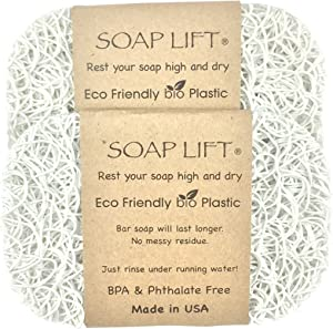 Soap Lift White Soap Dish, Two Pack
