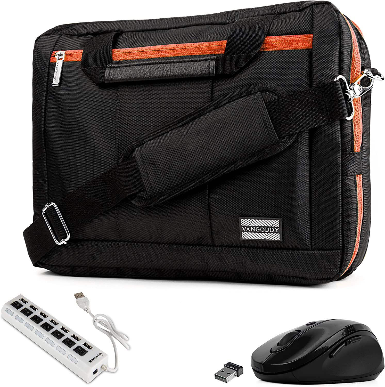 """Orange Trim Convertible Laptop Bag, USB Hub, Mouse for Dell Inspiron, Latitude, XPS, ChromeBook 11"""" to 13.3 inch"""