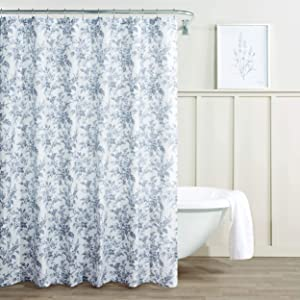 Laura Ashley Home | Annalise Floral Collection | Modern Heavyweight Shower Curtain, Mildew & Mold Resistant, Anti-Microbial Stylish Design, 72