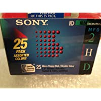 """Sony 2HD 3.5"""" IBM Formatted Micro Floppy Disks Double Sided (25 pack) Multi Color"""