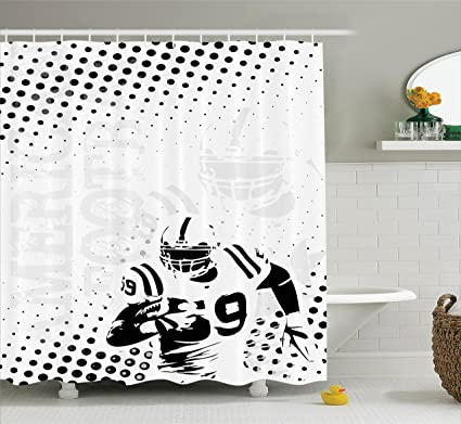 Amazon.com: Ambesonne Sports Decor Shower Curtain Set, American ...