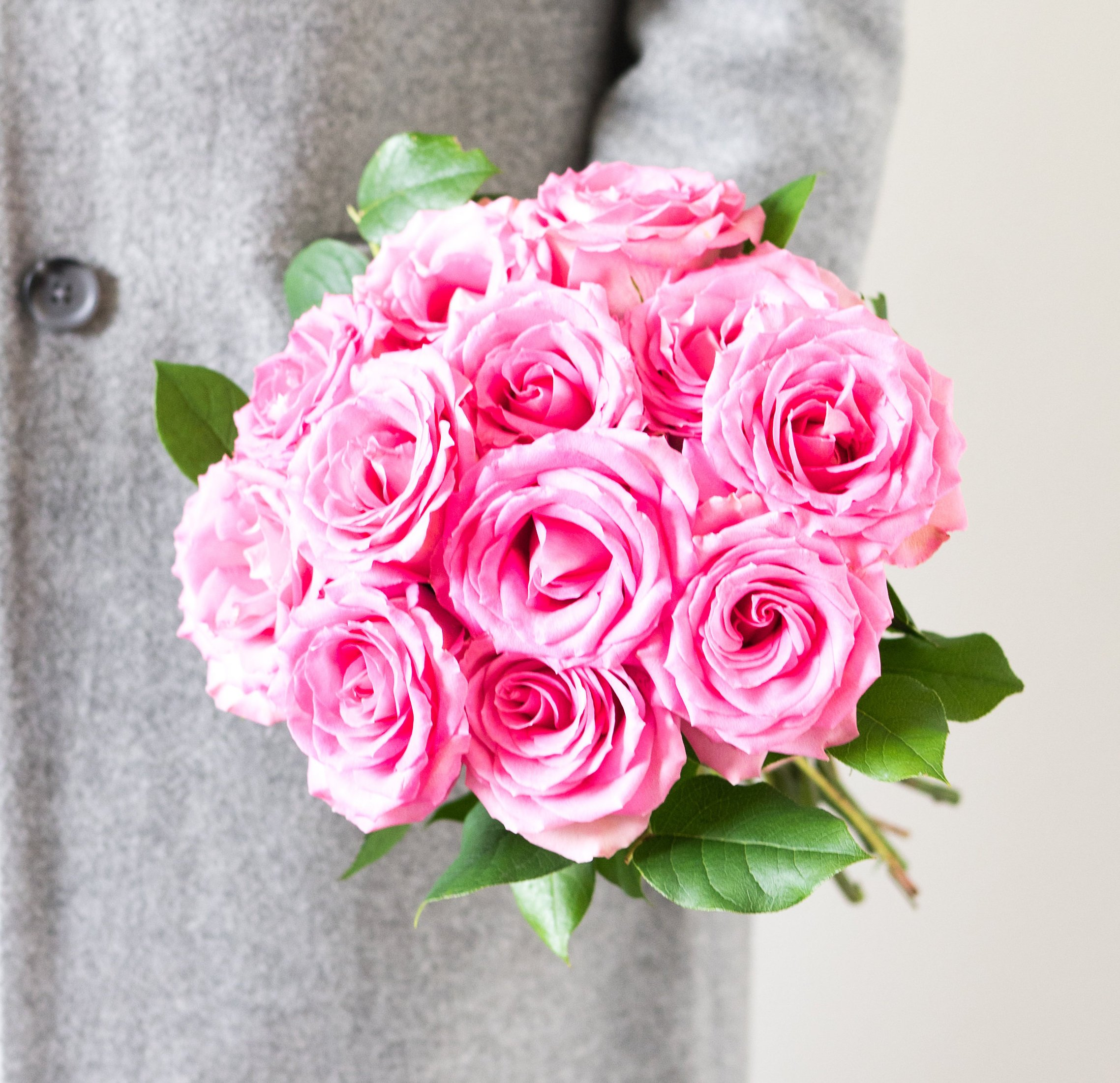 Flowers - One Dozen Pink Roses with Chocolates and a Bear (Free Vase Included) by From You Flowers