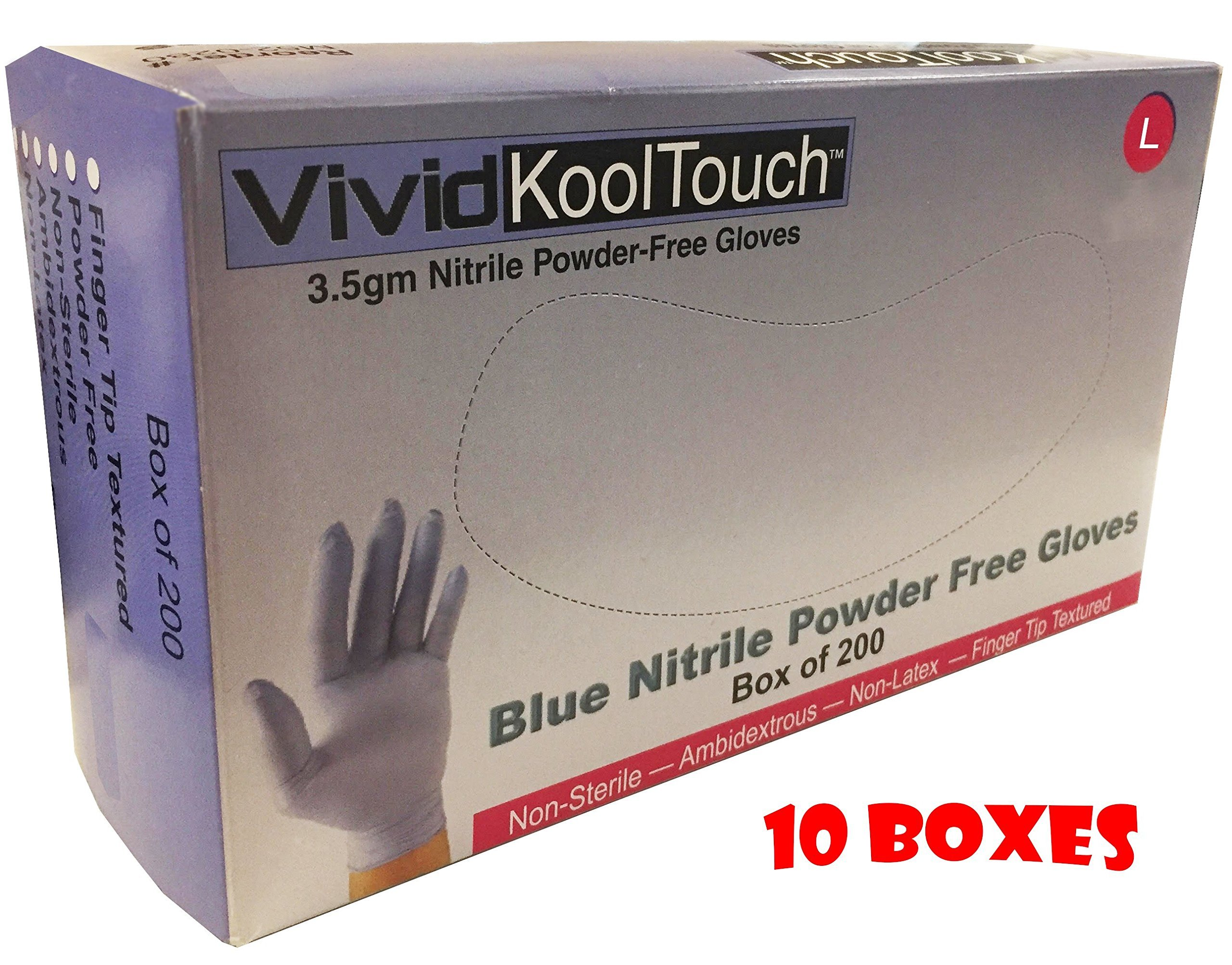 10 Boxes of Size Large, Blue Nitrile Exam Gloves, 200 Gloves Per Box (Medical Grade, Powder Free, Non Latex, Food Safe)