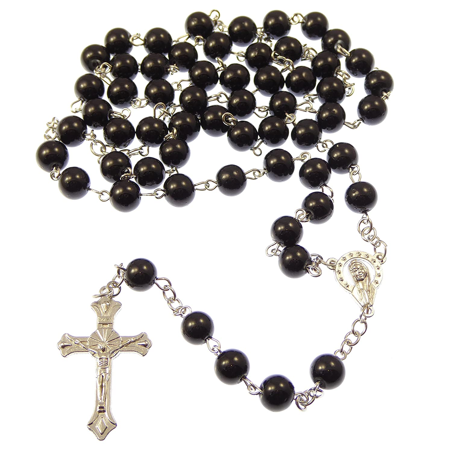 Long black metal long Catholic rosary beads with Our Lady center 8mm beads