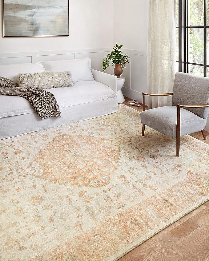 Loloi Ii Rosette Ros 03 Ivory Terracotta Traditional Area Rug 5 0 X 7 6 Furniture Decor