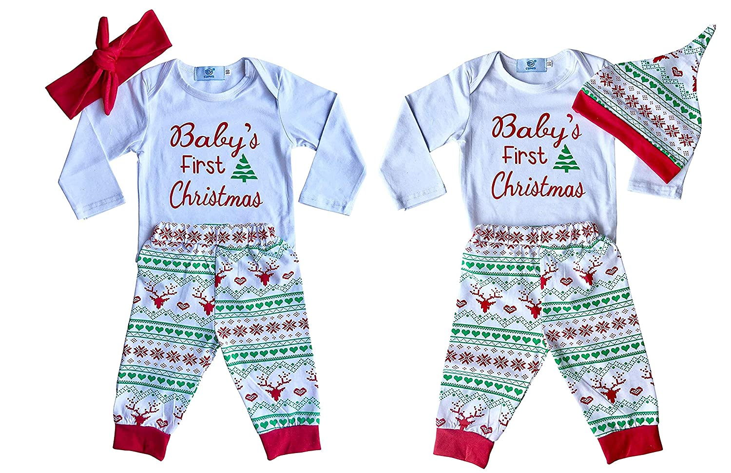 Amazon.com: Perfect Pairz Boy Girl Twin 1st Christmas Outfits: Clothing