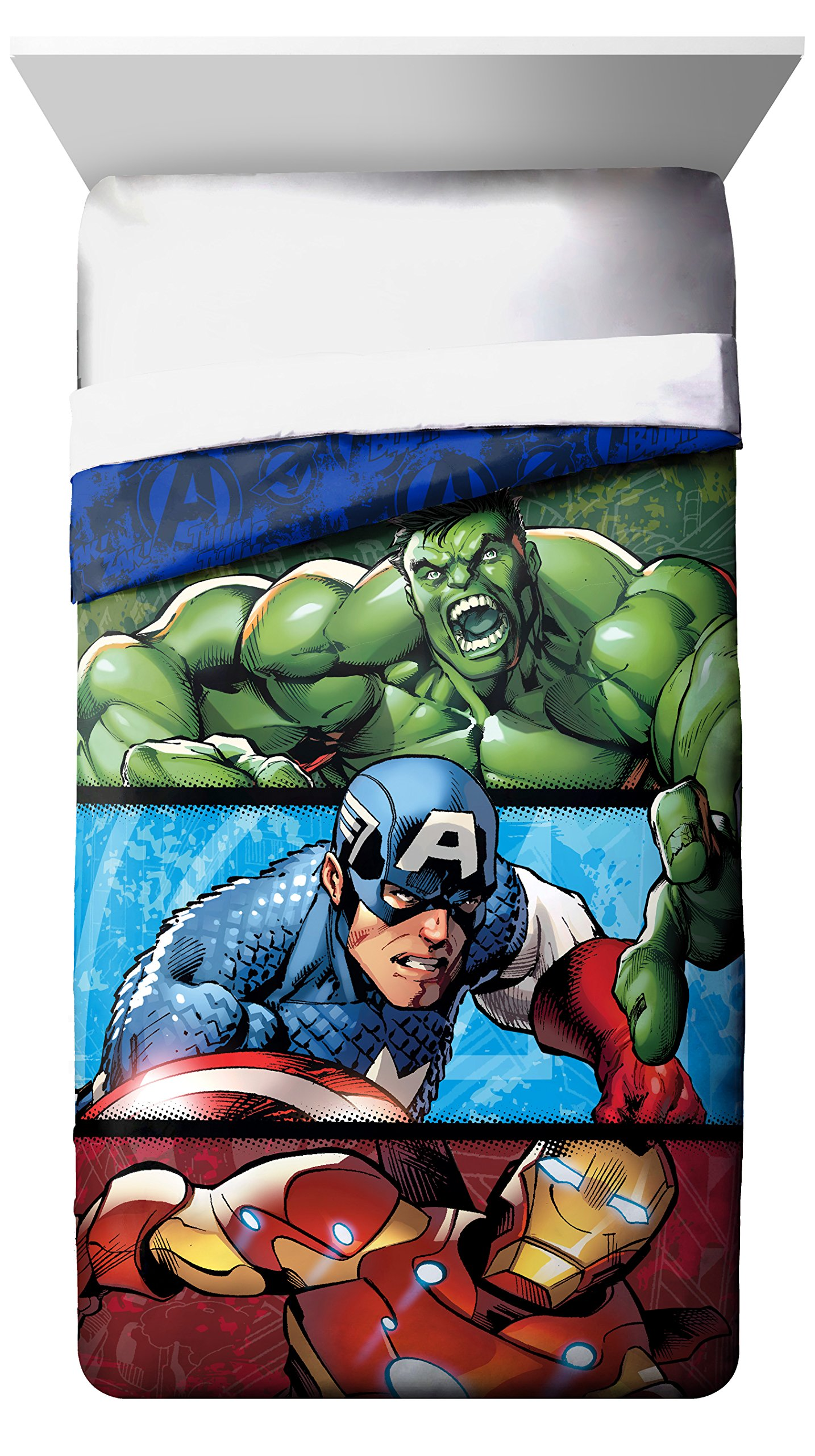 Disney Marvel Avengers Publish Twin Comforter - Super Soft Kids Reversible Bedding features Hulk, Iron Man, and Captain America - Fade Resistant Polyester Microfiber Fill (Official Marvel Product)
