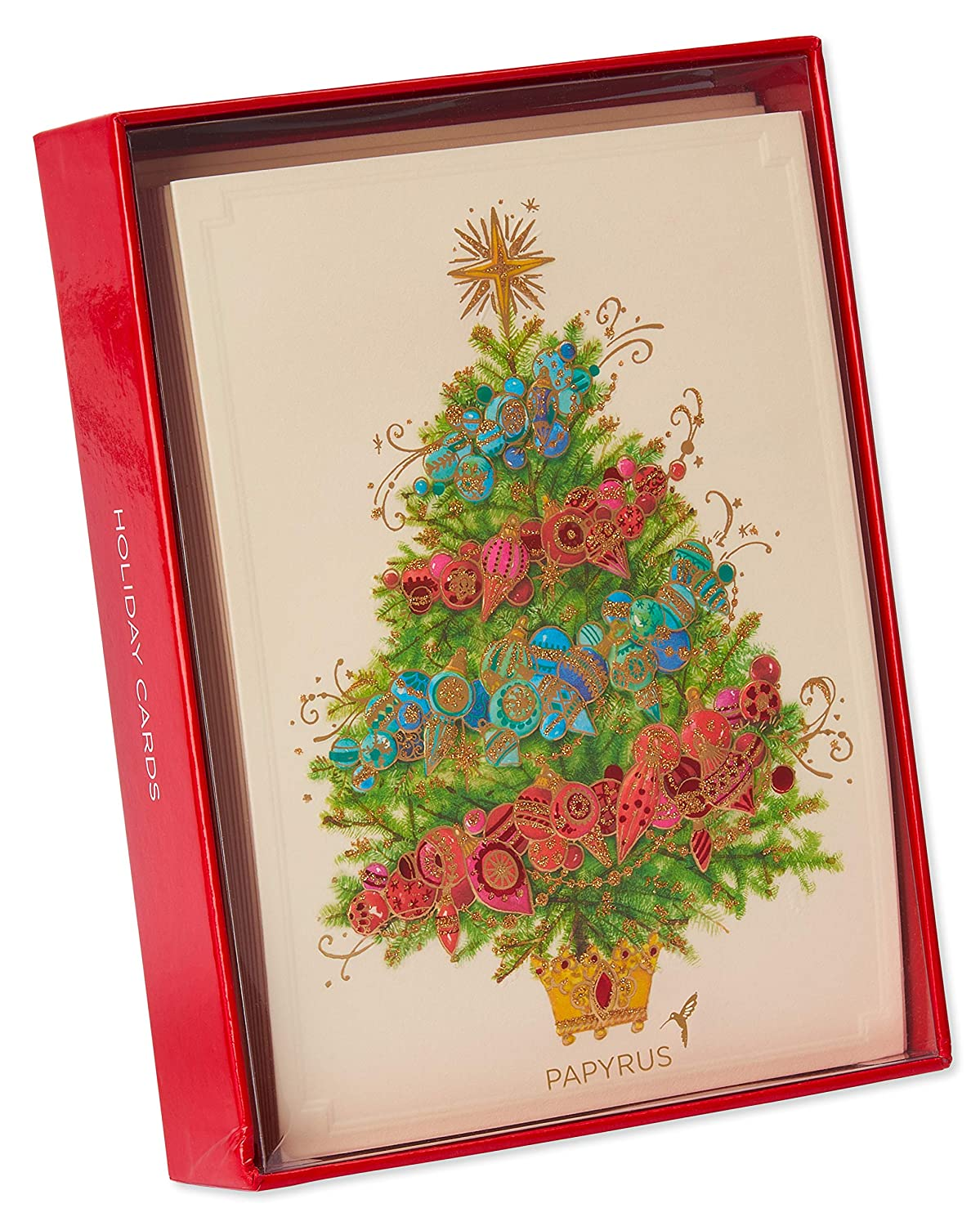Papyrus Christmas Cards.Papyrus Christmas Cards Boxed Glittered Christmas Tree With Ornaments 12 Count