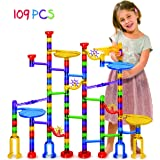Marble Run Super Set - 109 Pieces (84 Action Pieces + 25 Glass Marbles) - Marble Maze Race Track Game for Kids 4, 5, 6 Years Old and Up - TOMI TOYS Marble run sets for Educational Learning - STEM Buil