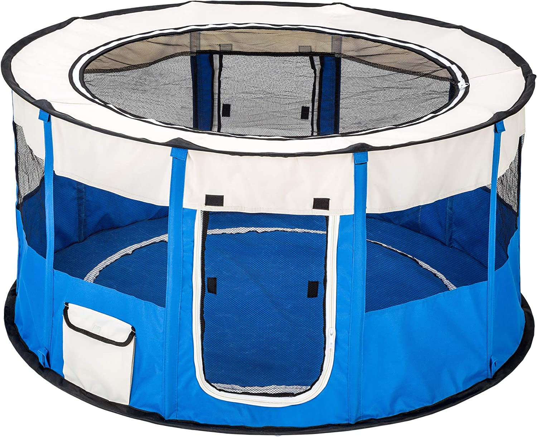 TecTake Parque para Perro Cachorros Corralito Jugar Animales Mascotas Plegable 114 x 60,5 cm (diámetro x Alto) (Azul | no. 402439)