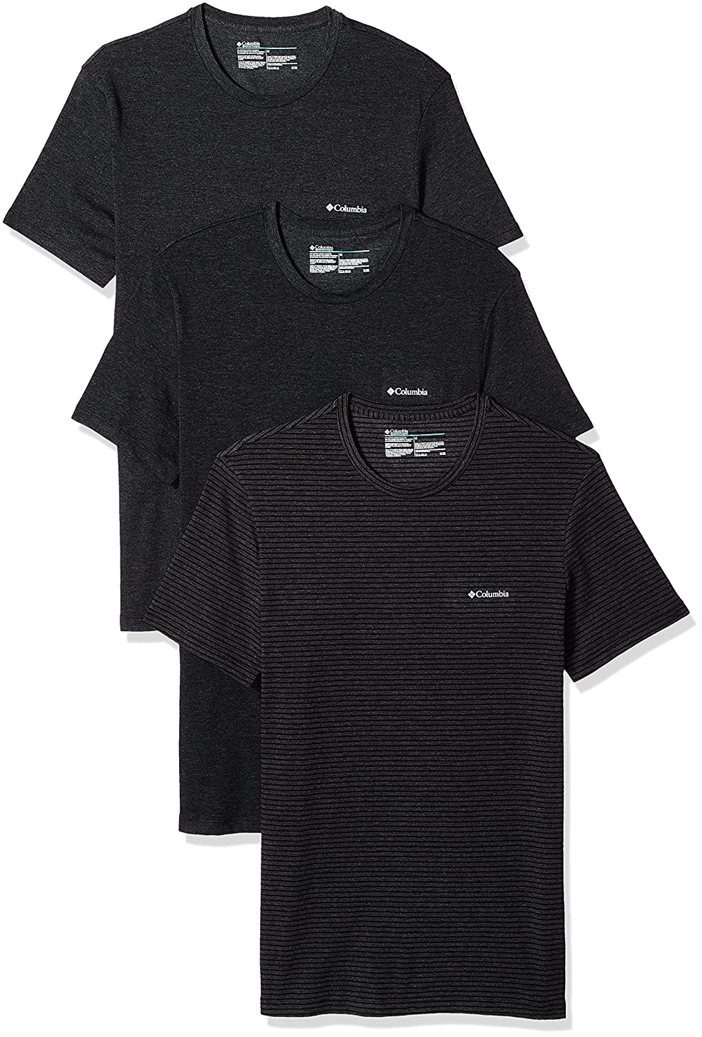 Columbia Mens Performance CTTN Stretch 3 Pk Crew Neck Tee
