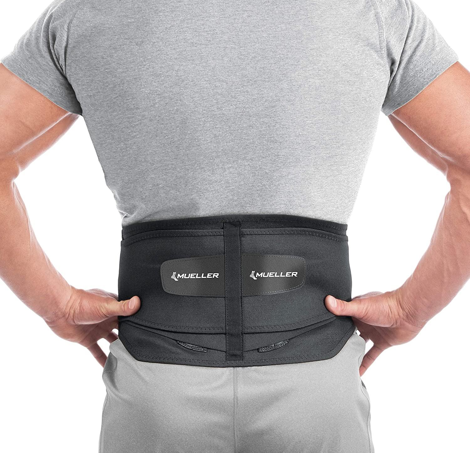 Mueller 255 Lumbar Support Back Brace with Removable Pad, Black, Regular(Package May Vary): Health & Personal Care