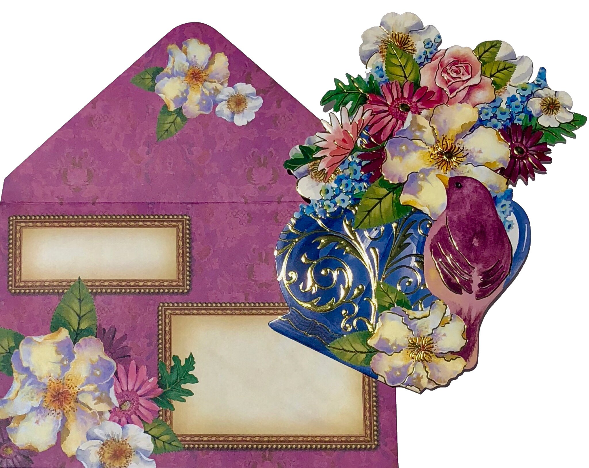 Punch Studio Set of 10 Gold Foil Embellished Die-Cut Fancy Note Cards ~ Birds Bouquet 64537