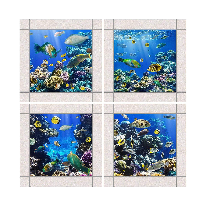 4teilig Apalis Fliesen Aufkleber/ Setgr/ö/ße /Unterwasser Set 15/cm x 15/cm