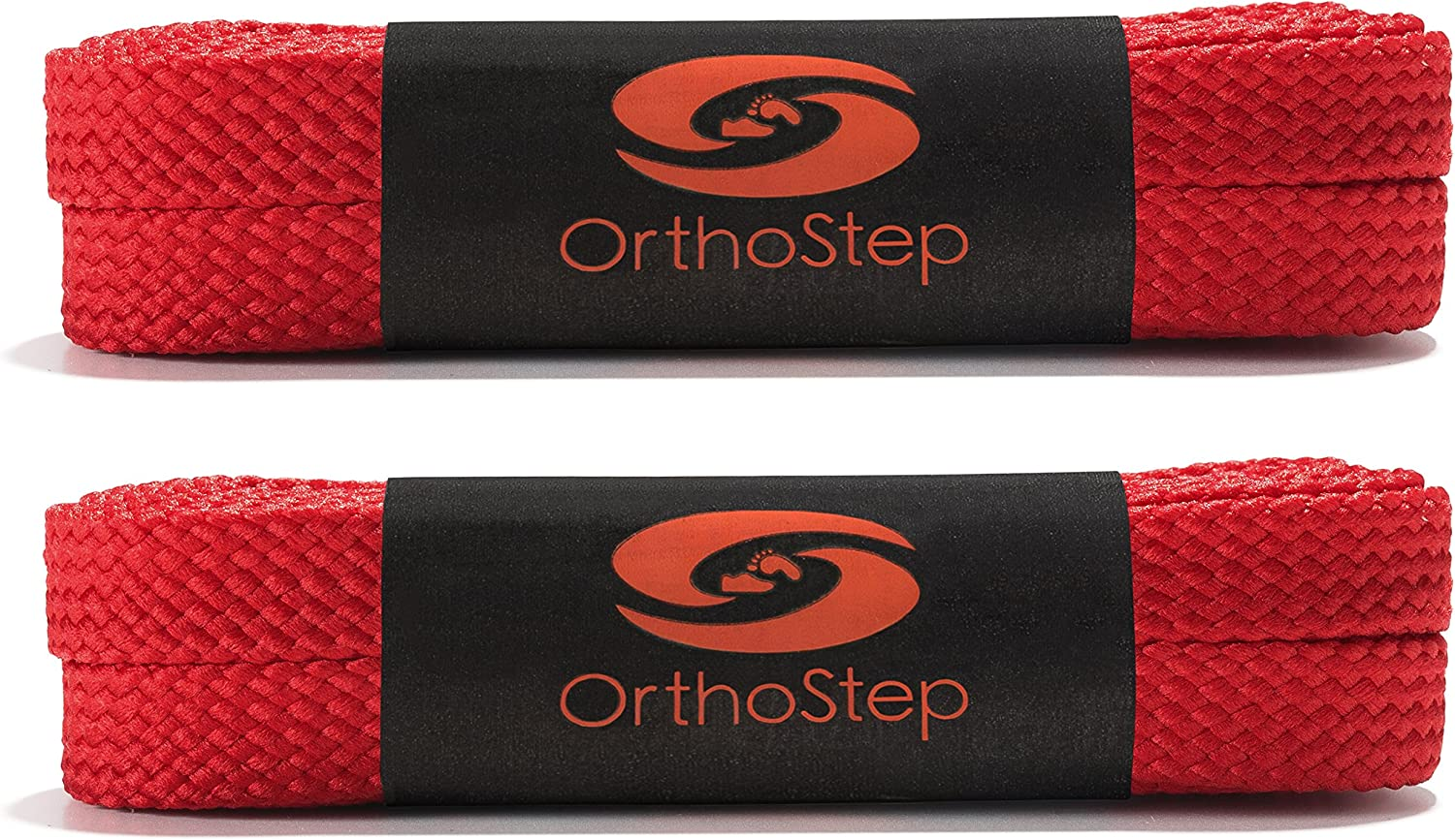 OrthoStep Wide Flat Athletic Shoelaces 2 Pair Pack Made in the USA