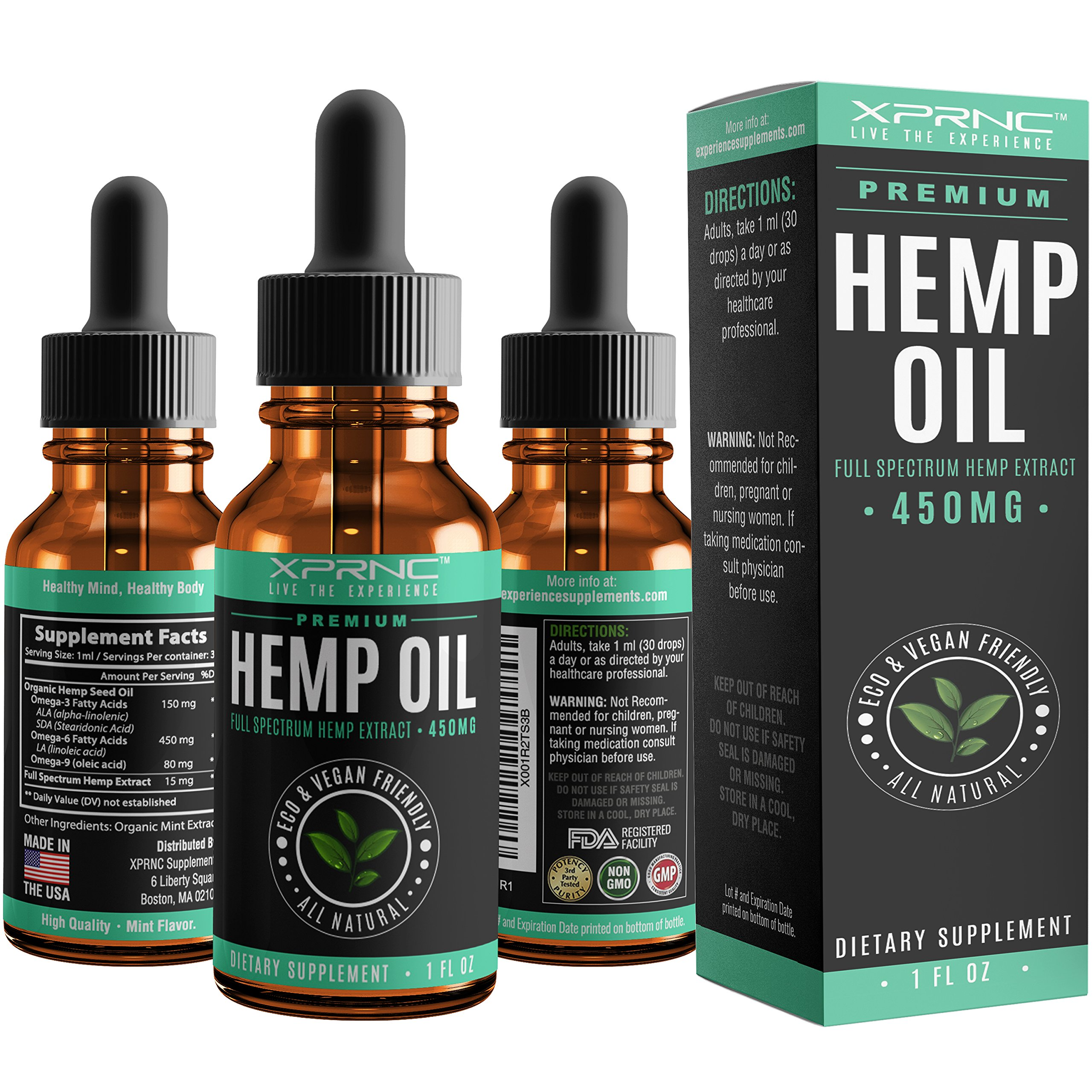 XPRNC Hemp Oil Extract - Full Spectrum Organic Supplement with Omega 3 6 9 - Relieves Stress, Anxiety and Depression - Promote Sleep, Pain Relief and Clarity - Antioxidant and Anti Aging - Mint Flavor