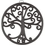 gasaré, Cast Iron Trivet, Tree of Life Decor, for Hot Dishes, Pots, Pans, Kitchen, Rubber Feet Caps, Ring Hanger, 8 Inches, R