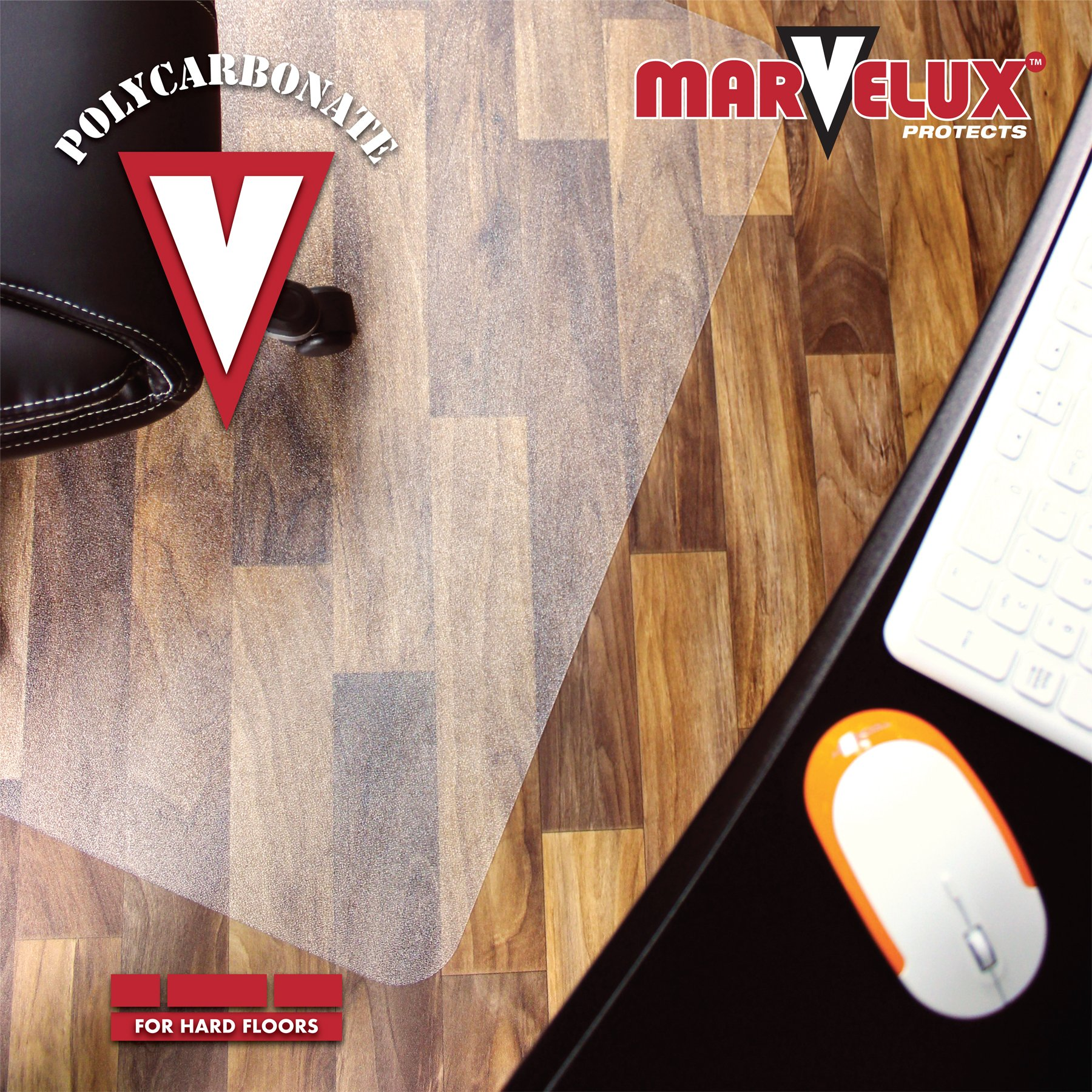 Marvelux 48'' x 60'' Heavy Duty Polycarbonate (PC) Rectangular Chair Mat for Hard Floors | Transparent Hardwood Floor Protector | Multiple Sizes by Marvelux (Image #4)