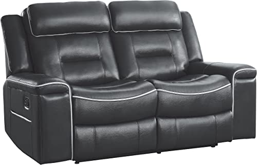 "Homelegance Darwan 65"" Leather Gel Double Reclining Loveseat"