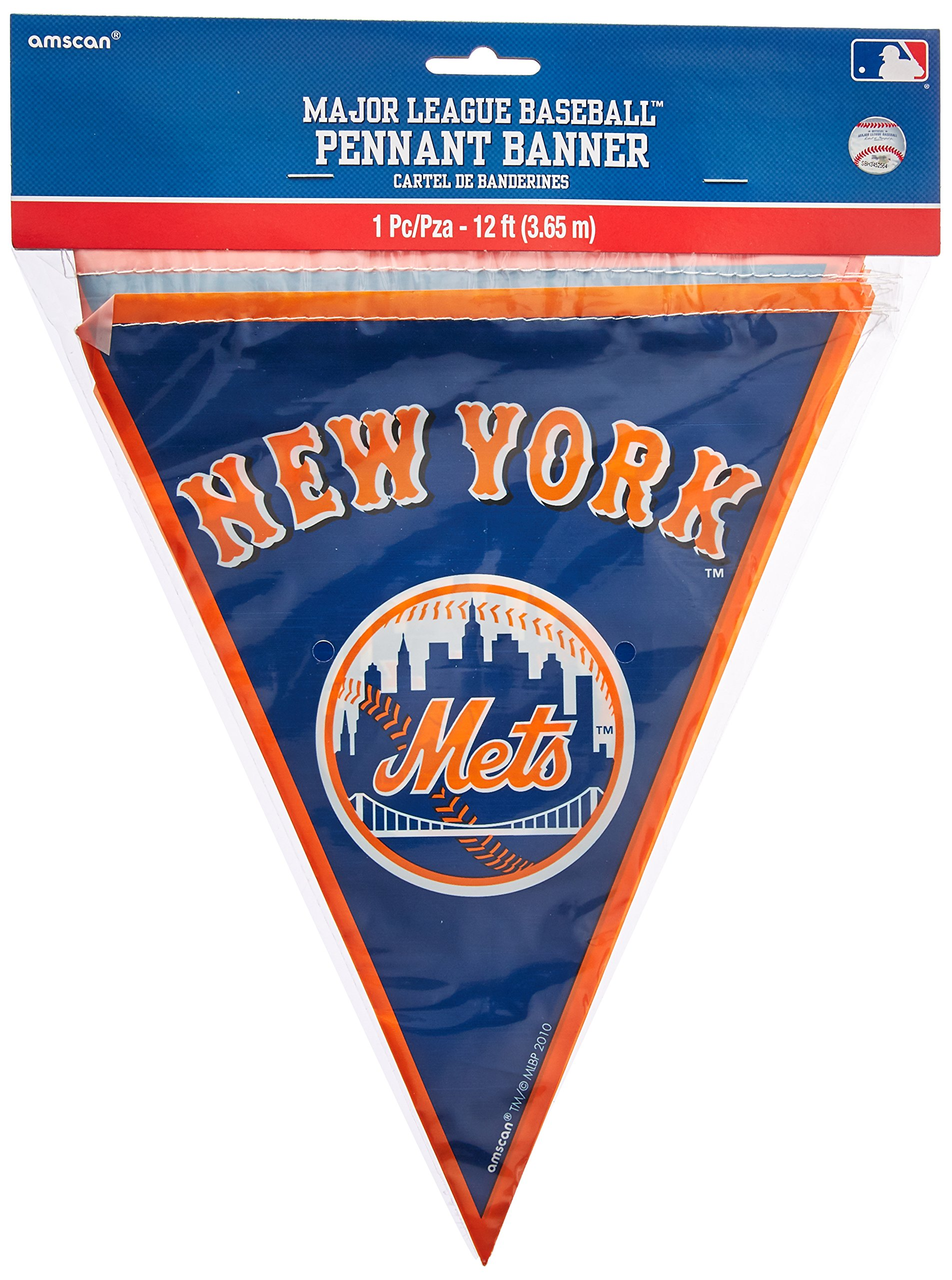 ''New York Mets Major League Baseball Collection'' Pennant Banner, Party Decoration, 12 Ct.