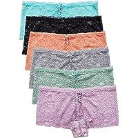 8553f7b7553 Barbra s 6 Pack of Women s Regular   Plus Size Lace Boyshort Panties