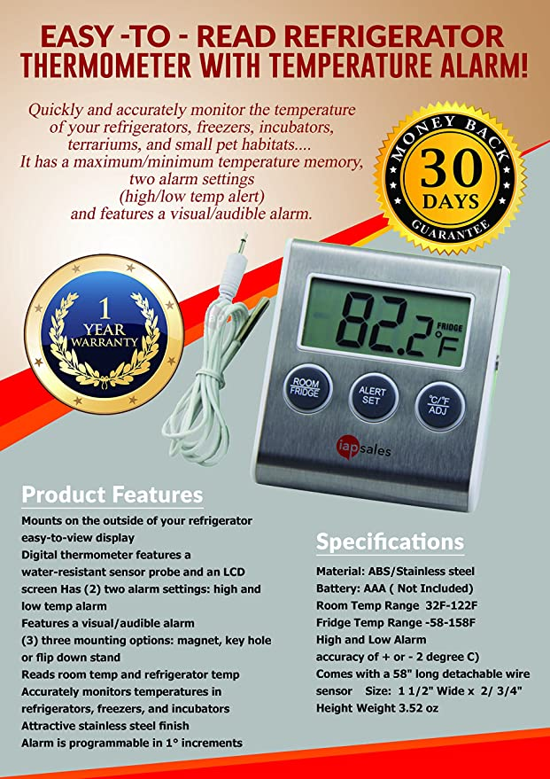 Easy to Read: Refrigerator Freezer Thermometer Alarm, High & Low ...
