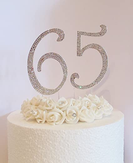 65th Cake Decoration Large 12cm Silver Numbers With Clear Diamante Crystals Perfect For Birthday Cakes Amazoncouk Kitchen Home
