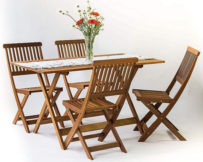 1 x Tavolo; 4 x sedie Disponibile in 2 disposizioni Diverse AVANTI TRENDSTORE Set da Giardino//Balcone in Legno Massiccio
