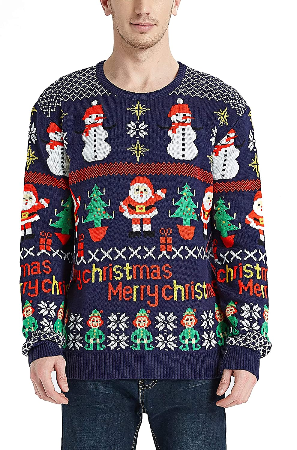 Mens Christmas Rudolph Reindeer Santa Holiday Knitted Sweater Cardigan Ugly Pullover