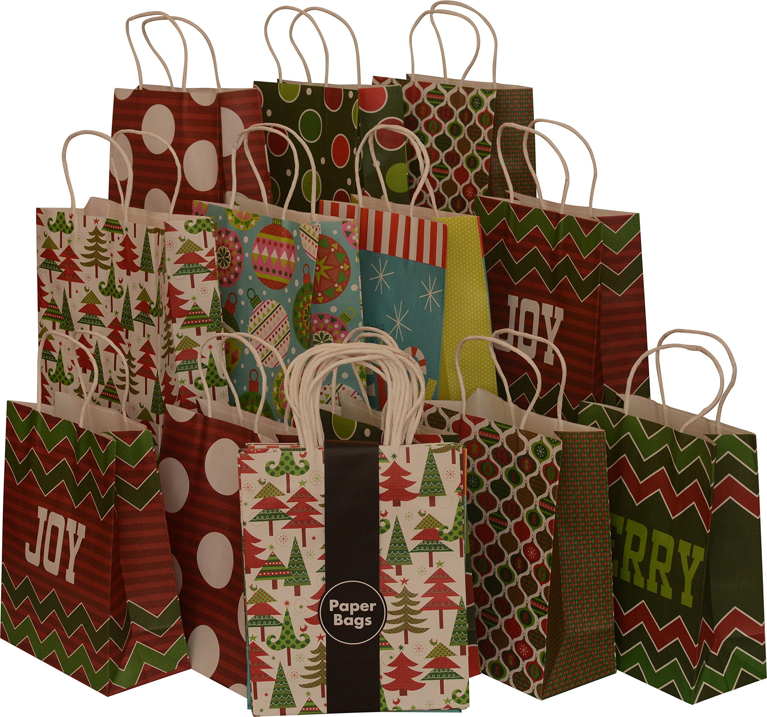 Amazon.com: Kraft 20 Pack Christmas Gift Bags Set Holiday ...