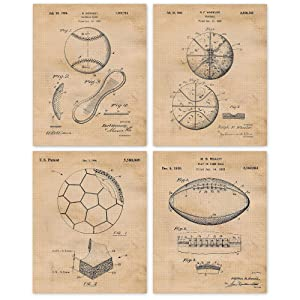 Vintage Baseball Football Soccer Basketball Patent Poster Prints, Set of 4 (8x10) Unframed Photos, Wall Art Decor Gifts Under 20 for Home, Office, School, Man Cave, College Student, Teacher Sports Fan
