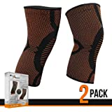 2 Pack Compression Support Sleeve Knee Brace - Relieves Meniscus / Arthritis / Joint Pain - For Running / Basketball / Sports - Stay Active During Recovery From Injury!
