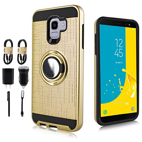 huge discount e8191 5d2cb Galaxy J6 2018 Case, Magnet Mount Ready Hybrid Phone Case w/Kickstand,  Shockproof Cover for Samsung Galaxy J6 2018 [Value Bundle] (Gold)