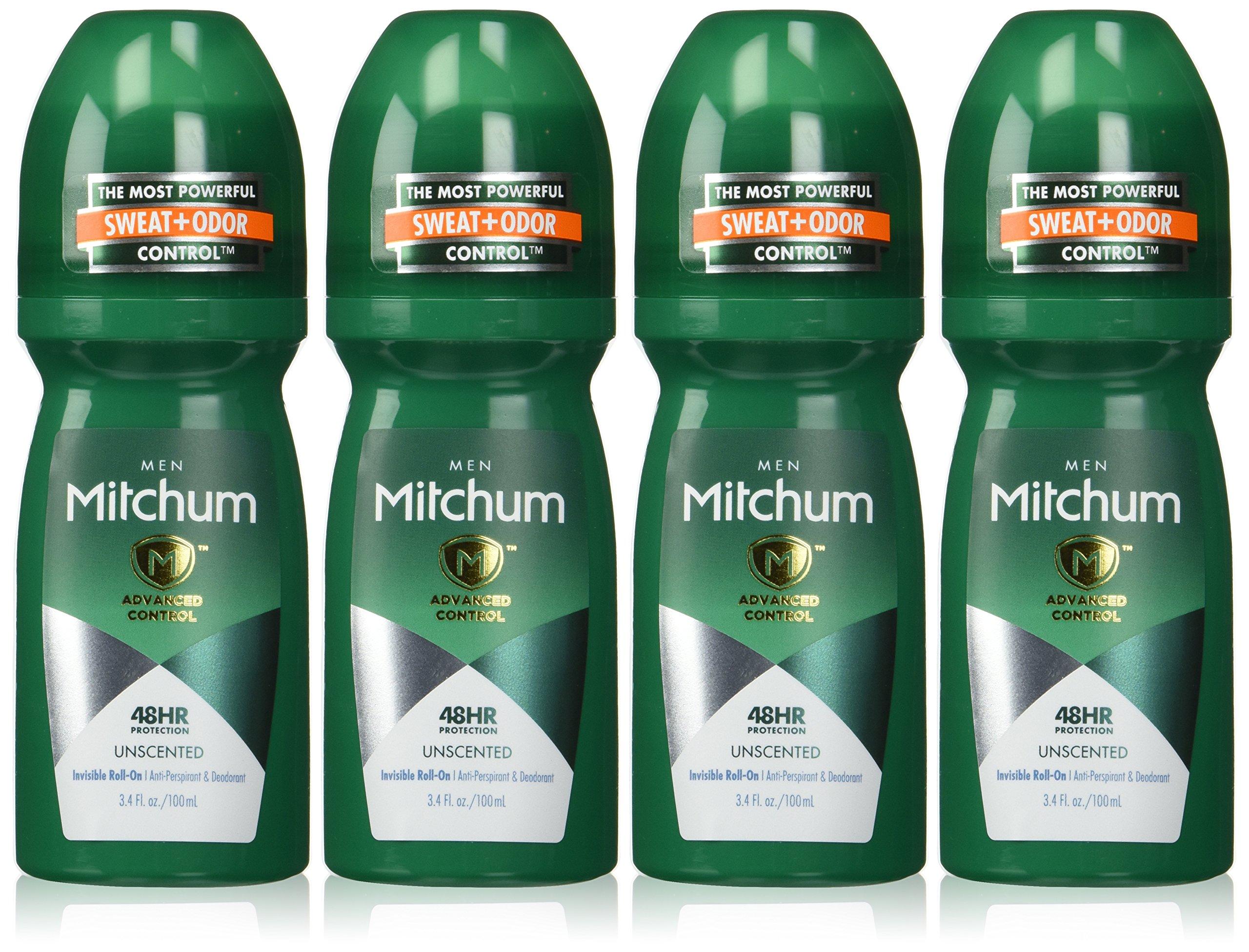 Mitchum Anti-Perspirant & Deodorant, Roll On, Advanced Unscented, 3.4 fl oz (100 ml) (Pack of 4)