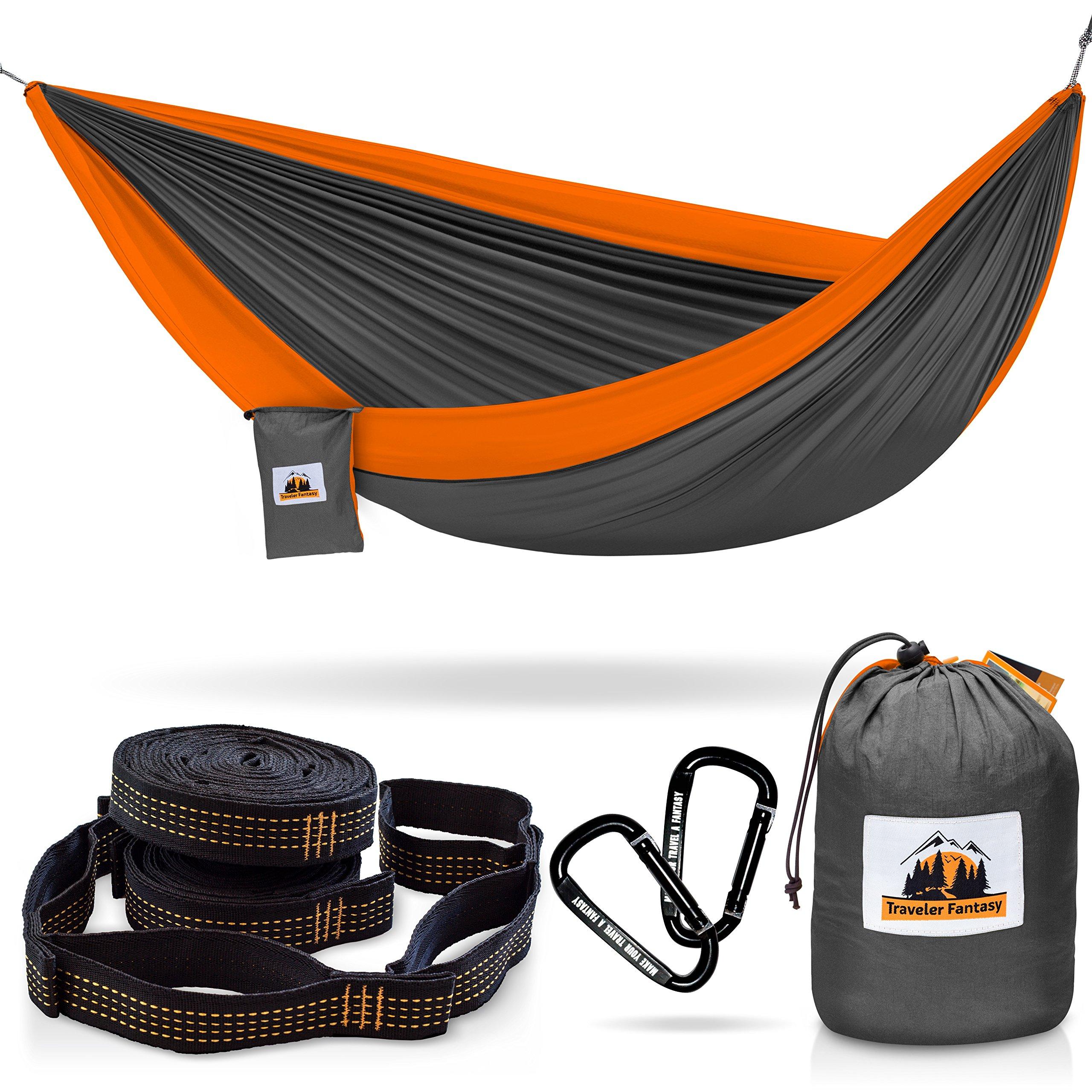 Traveler Fantasy Double Camping Hammock: Durable Nylon Parachute Portable Ultraweight Hammock, Backpacking, Beach, Yard, Swing, Super Strong Straps & Carabiner (Smoke Gray with Salamander Orange) by Traveler Fantasy