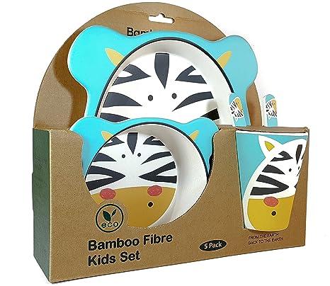 Set vajilla Infantil de bambú 5 Piezas Cubertería para Niños/Bebes/Tazón Vaso de