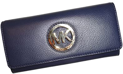 73ef362954a8a Image Unavailable. Image not available for. Color  Women s Michael Kors  Fulton Flap Continental Leather Wallet Navy