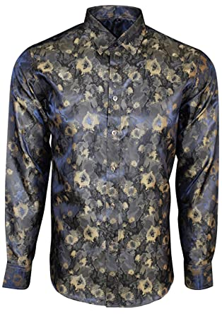 Mens Shiny Paisley Floral Silk Feel Smart Casual Dress Formal