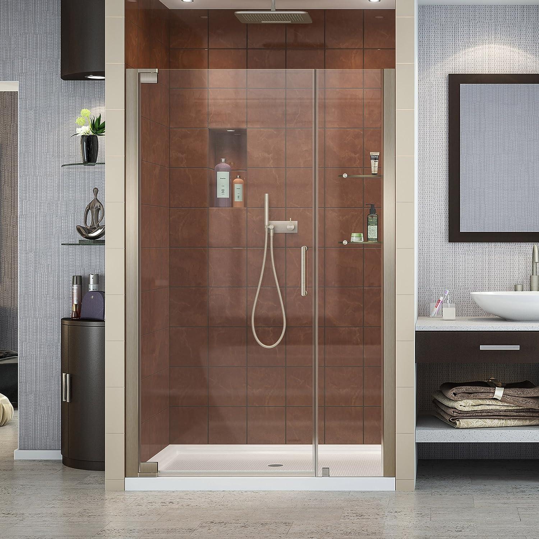 DreamLine Elegance 40 3 4 – 42 3 4 in. W x 72 in. H Frameless Pivot Shower Door in Brushed Nickel, SHDR-4140720-04