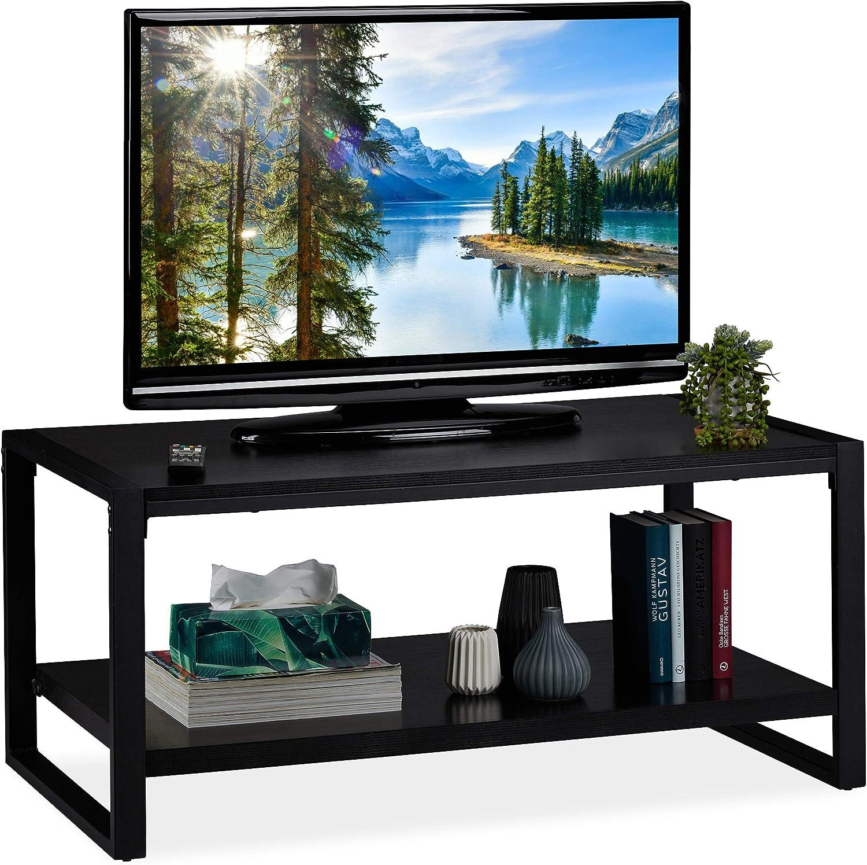 Relaxdays Mesa Centro Salón, Mueble TV con Balda Inferior, Aglomerado y Metal, 45 x 100 x 55 cm, Negro: Amazon.es: Juguetes y juegos