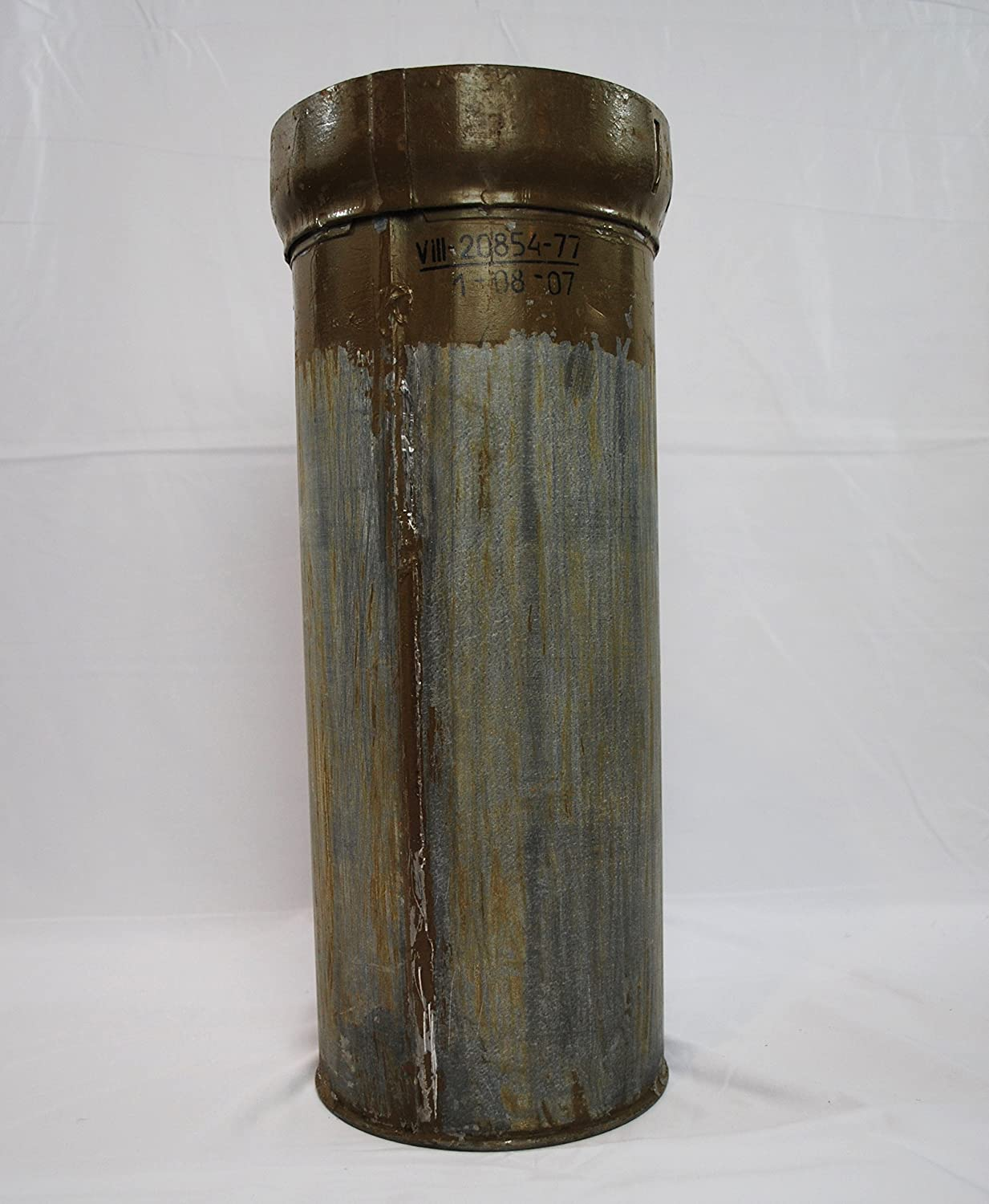 Reclaimed 125 mm Ammunition Canister Used by the US Army for Rustic Home Decor and Stem Displays